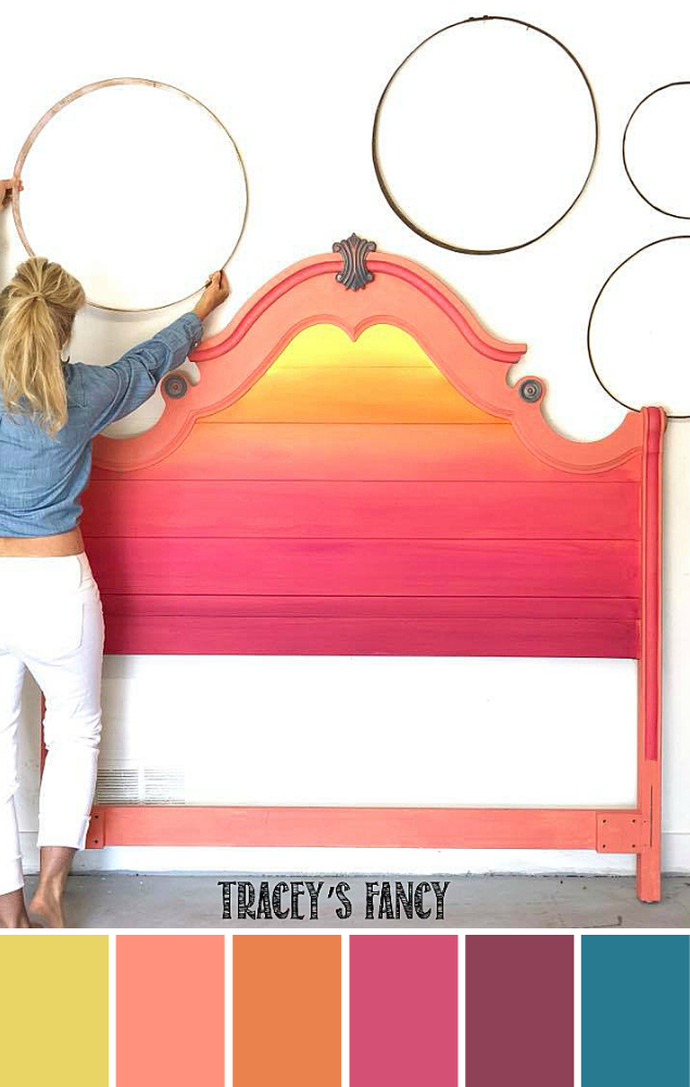 Bright Color Blended Sunset Headboard Chalk Paint Colors Bright