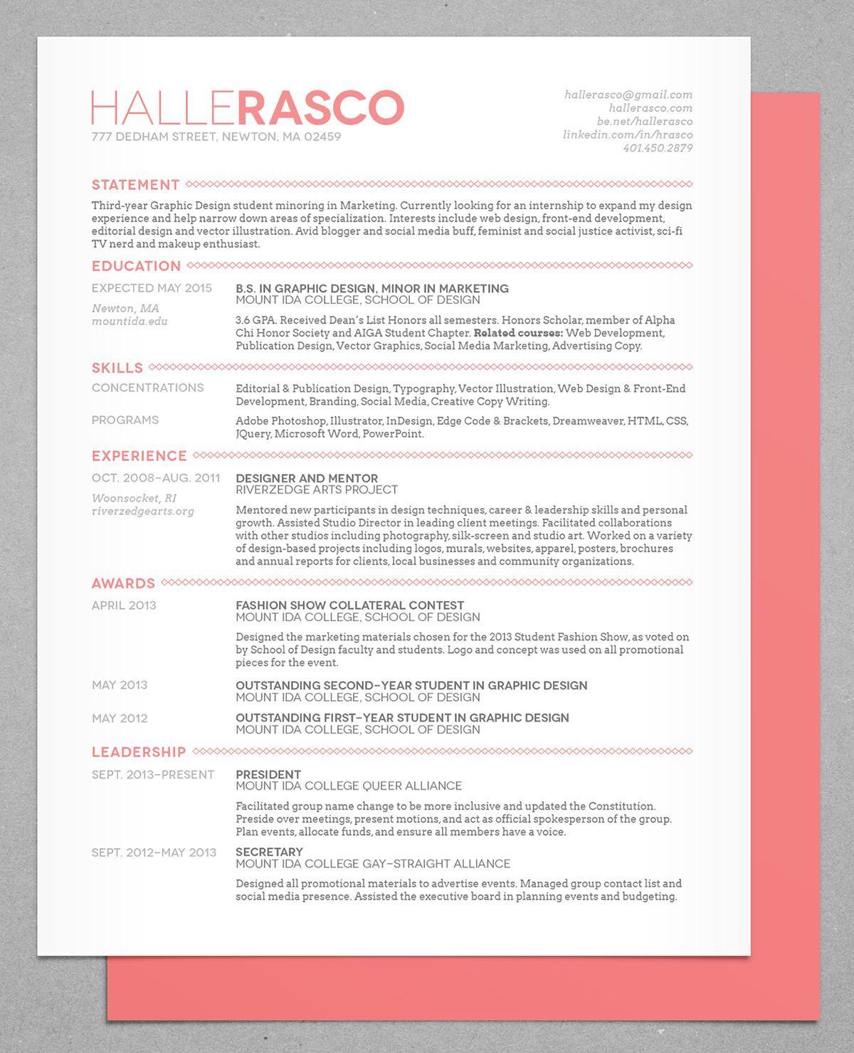 Halle Rasco Personal Branding 2013/14 on Behance in 2020