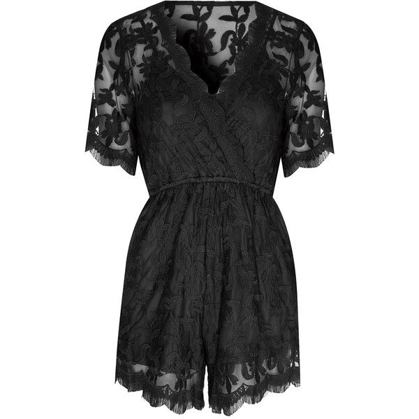 5927719eaf11 Black Lace Wrap Over Playsuit ( 65) ❤ liked on Polyvore featuring jumpsuits