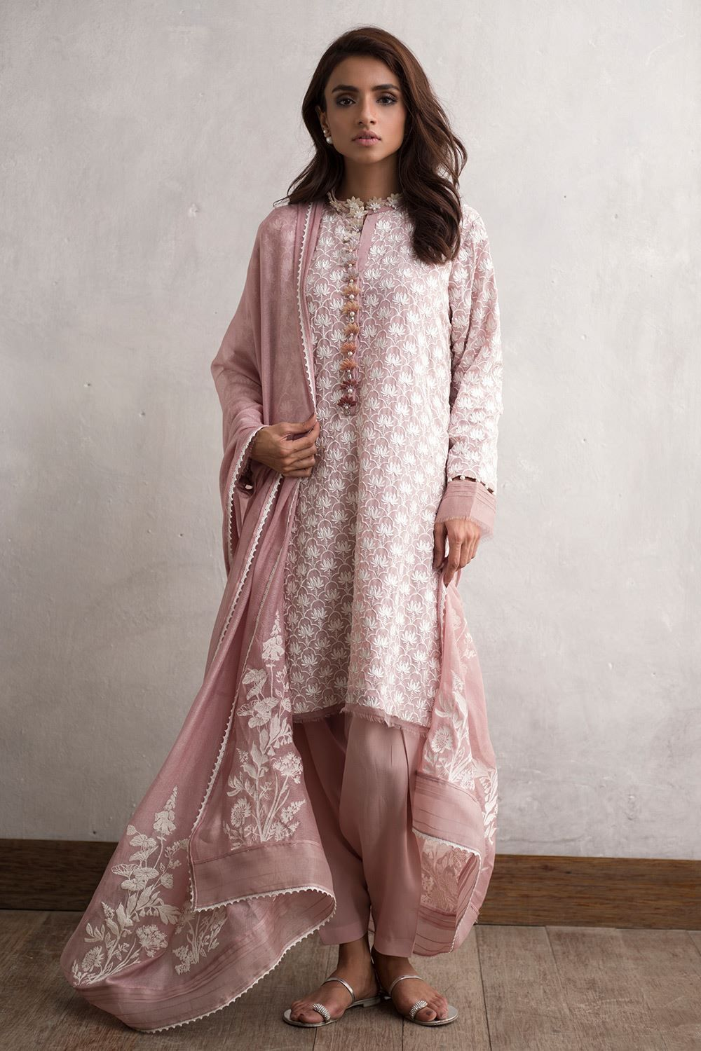 5e1475fd00 Embroidered crepe Pakistani 3 piece dress in pink by Nida Azwer Traditional  Luxury pret - Pakistani Dresses Online