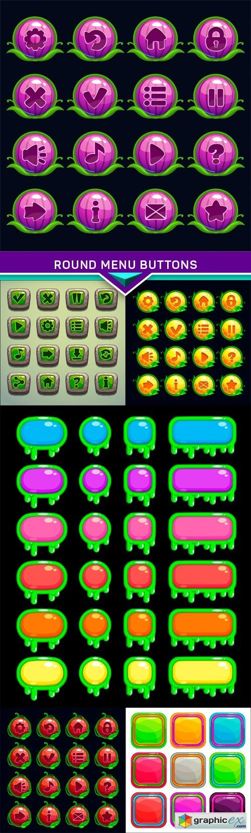 Round menu buttons set, for game or web design 6X EPS