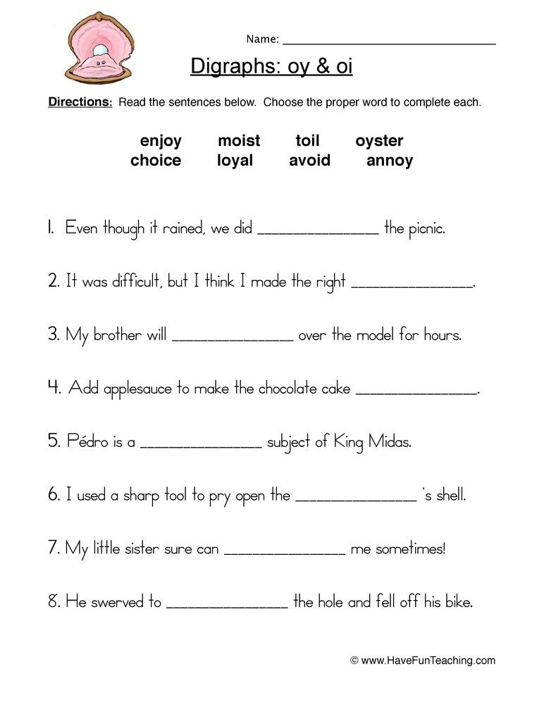 A Phonics Reading Foundations Worksheet For The Diphthongs Oi And Oy Word Skills Phonics Worksheets Phonics