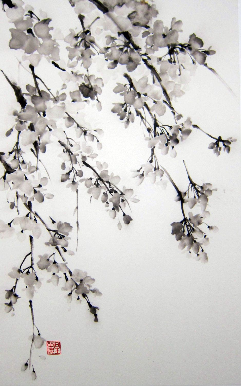 Sakura Japanese Ink Painting On Rice Paper By Suibokuga On Etsy