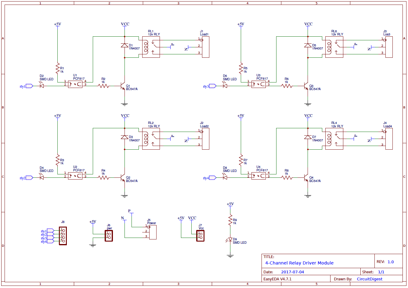 4channel relay driver module circuit diagram Circuit