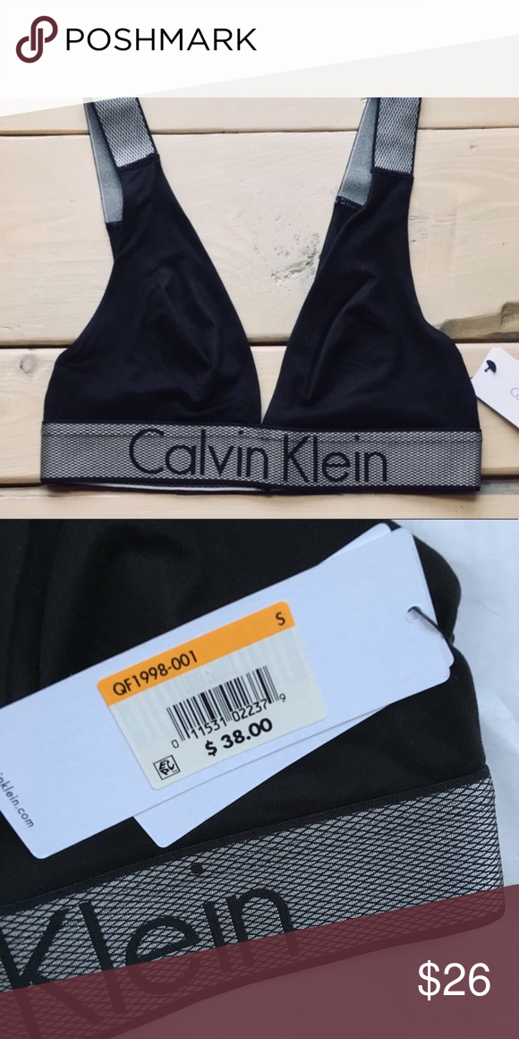 8a08754c9e07 Calvin Klein Black Triangle Logo Bra NWT Size S Bra only Brand new never  worn Size small Calvin Klein triangle bra, unpadded, silky material,  pullover style ...