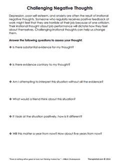 Challenging Negative Thoughts Worksheet Therapy Worksheets