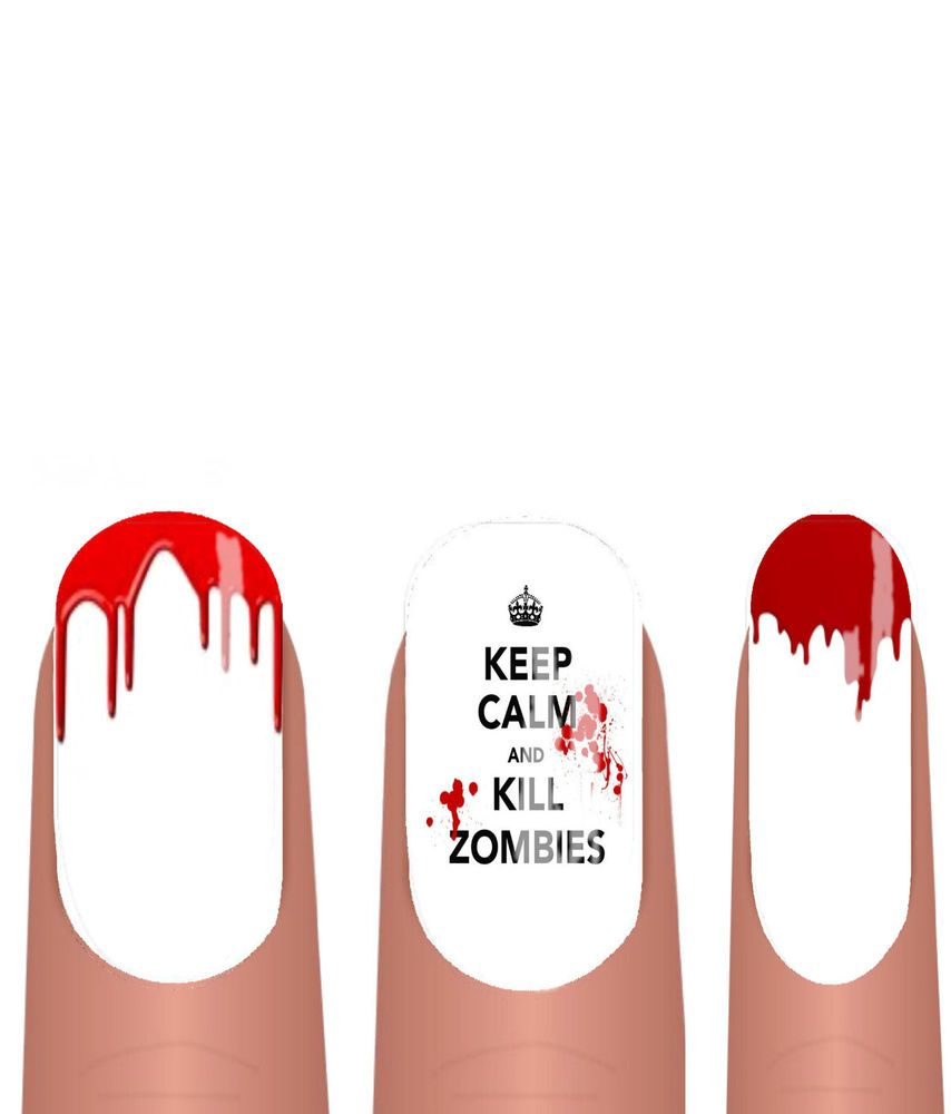 Halloween Nail WRAPS Nail Art Water Transfers Decals Keep Calm Zombies ADHW014