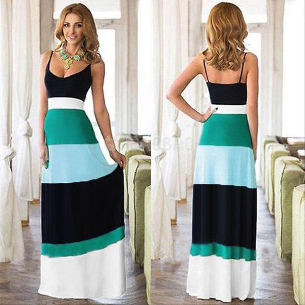 Women Summer Boho Long Maxi Evening Party Dress Lady Sleeveless Long