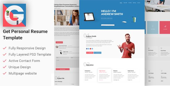 Resume Website Template Get  Personal Cvresume Template This Is Modern Minimal And