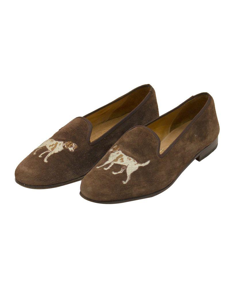 aae50bc07b48e9 Brown Suede Slippers with Dog Motif Vêtements De Créateurs Vintage