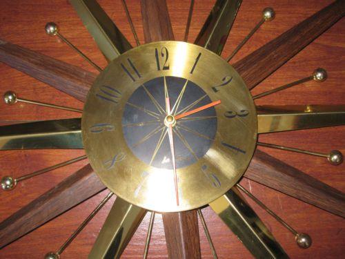 Vintage Seth Thomas Sunburst Starburst Clock Mid Century