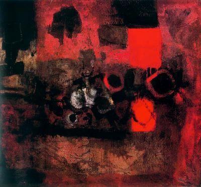 """Antoni Clavé Sanmartí (1813 - 2005). """"Harmonie rouge et ocre, 1960"""". Óleo sobre tapiz. 97 x 130 cm. Colección Pierre Segher. París. Francia."""