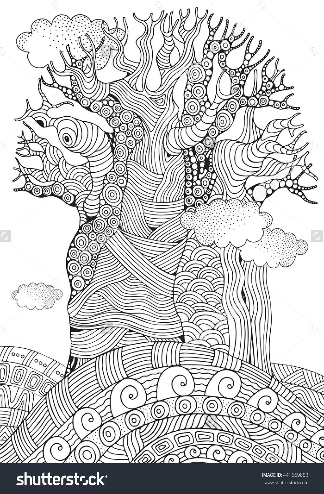 Baobab Tree Coloring Page For Adults Zentangle 441669853