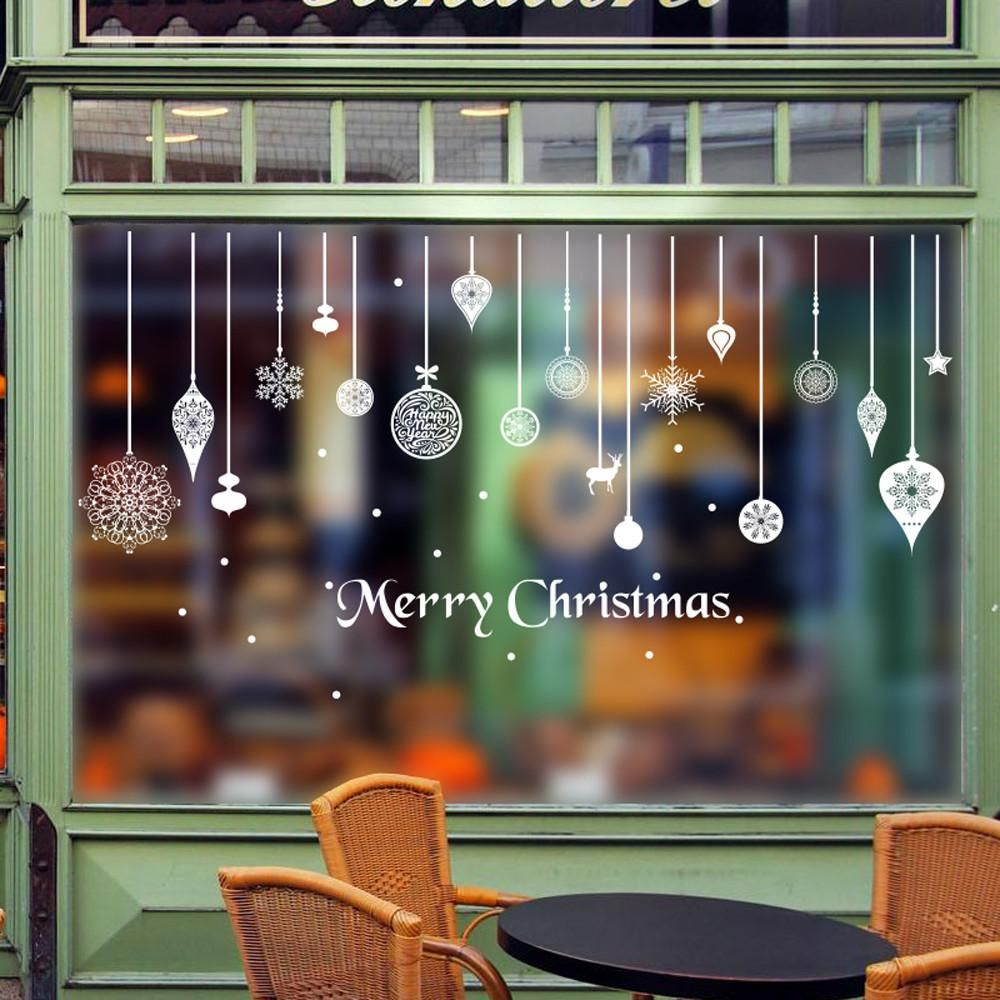 Window decor stickers  christmas decorations for home new year wall stickers home decor