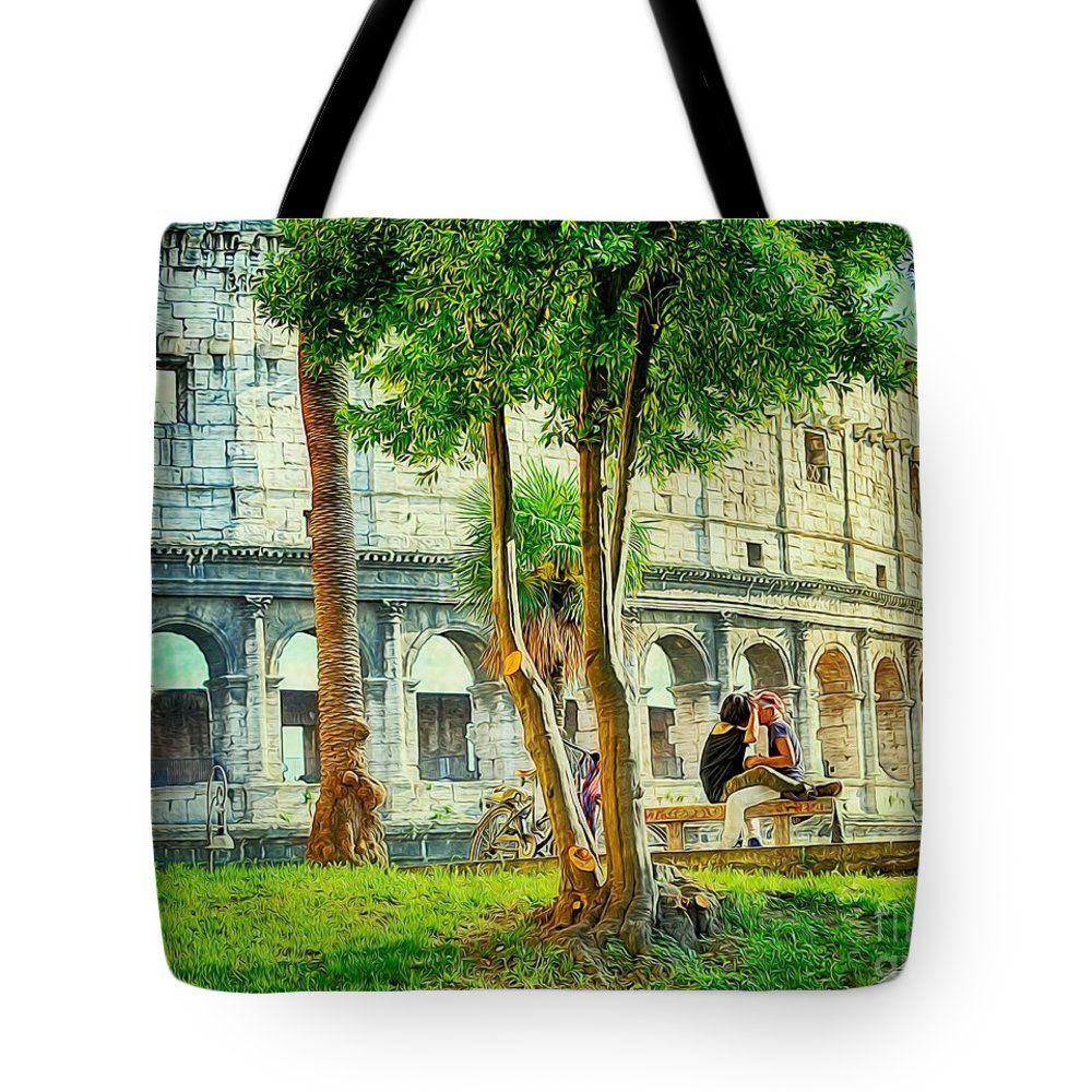"""Roman Lovers Tote Bag 18"""" x 18""""   #love, #romantic, #valentine, #romance, #happy, #couple, #young, #woman, #beautiful, #people, #man, #dinner, #heart, #wedding, #holiday, #day, #flower, #table, #two, #background, #girl, #family, #together, #rose, #white, #outdoors, #female, #married, #adult, #relationship, #summer, #dating, #restaurant, #anniversary, #wine, #spring, #candle, #happiness, #sunset, #food, #male, #boyfriend, #travel, #light, #lifestyle, #evening, #festive, #marriage, #gift…"""