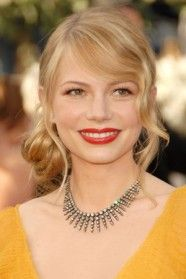Michelle Williams Yellow Dress Red Lips Michelle Williams Hair