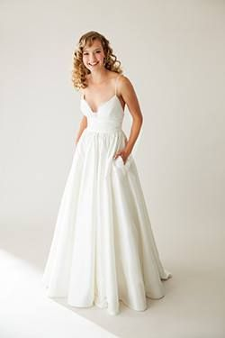 Lovely by Astrid and Mercedes  This Silk Ball Gown has a lace detail at the bodice and rouched cummerbund-style waist