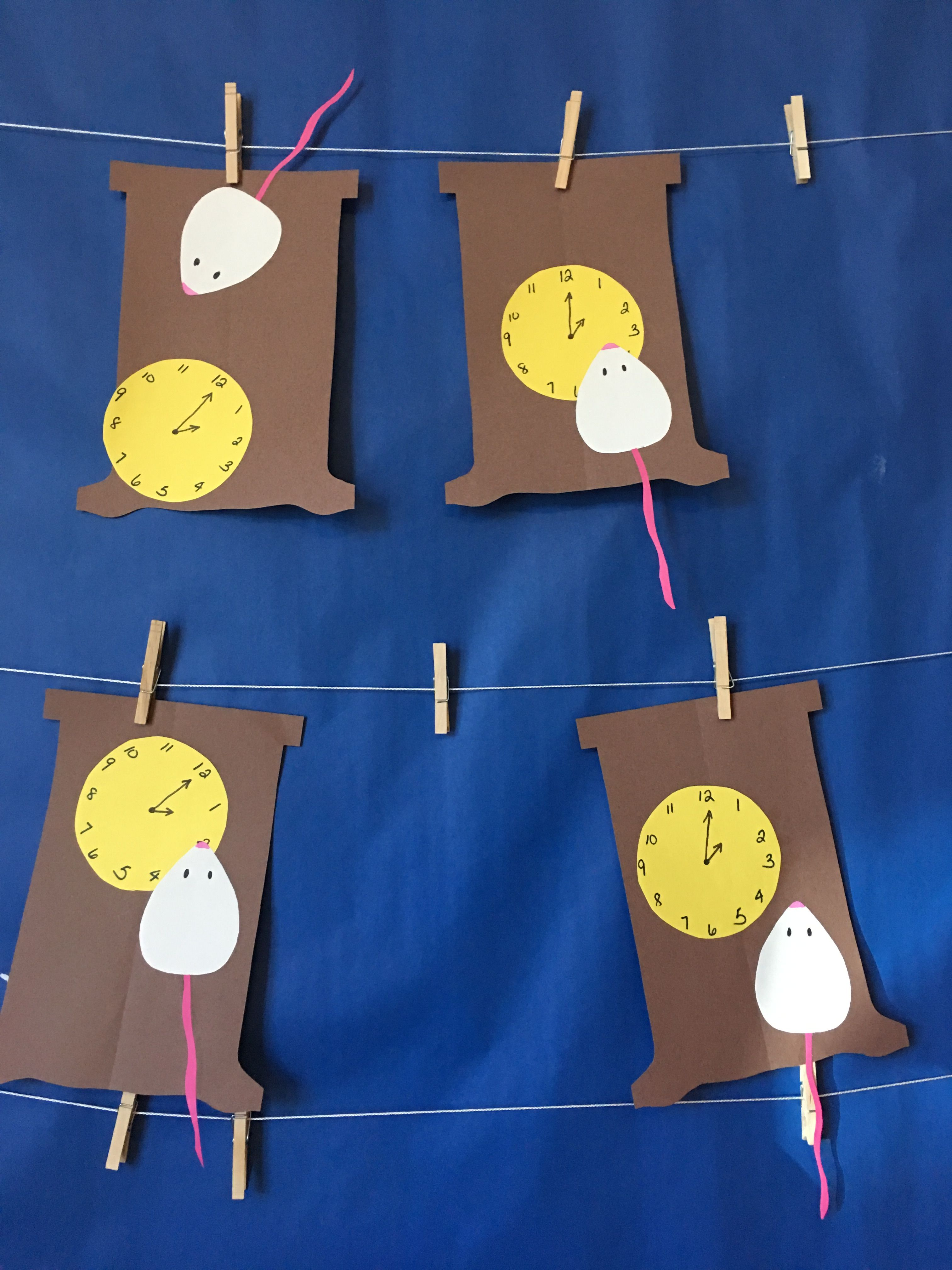 Hickory Dickory Dock. Mouse went up the clock! So cute art project ...
