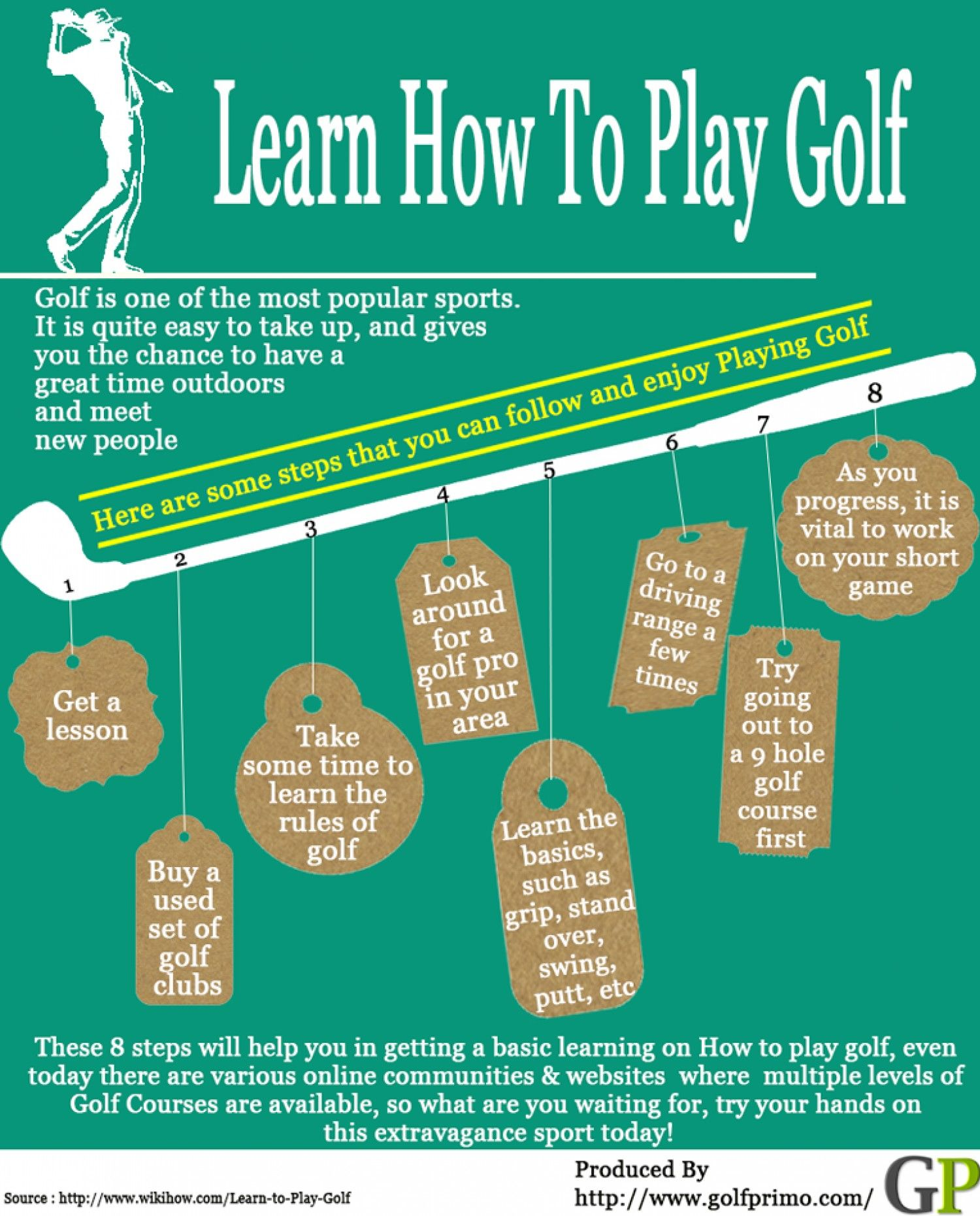 Learn How To Play Golf Infographic With These 8 Steps On How To Start Playing Golf And Enjoying The Gam Golf Tips For Beginners Golf Lessons How To Play Tennis