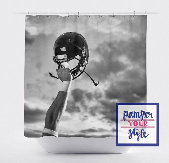 Vintage Football Shower Curtain Black And White By Pamperyourstyle