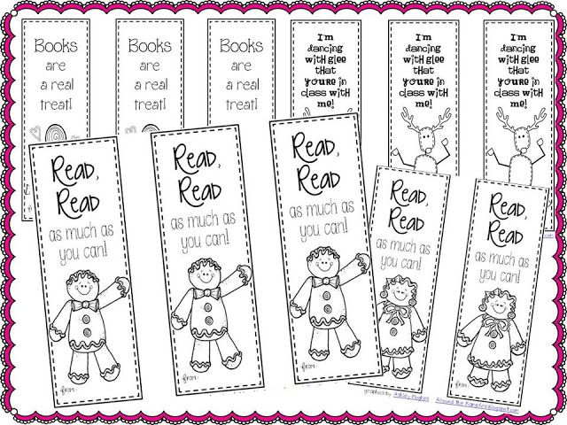 Around the Kampfire: 5 Days of Freebies!  Gingerbread bookmarks to slip inside books for student gifts