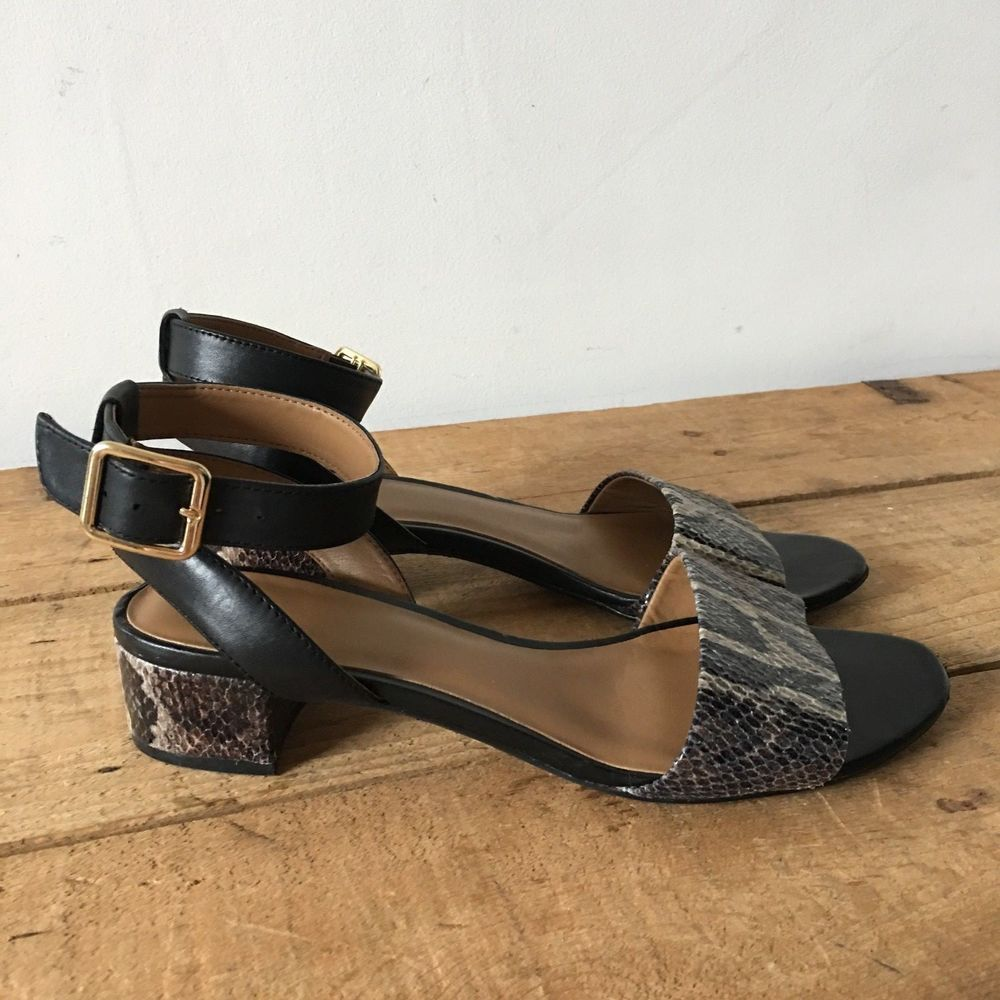 a4f08b68e3ba UK 6.5 D WOMENS CLARKS SHARNA BALCONY BLACK COMBI LEATHER ANKLE STRAP  SANDALS  Clarks