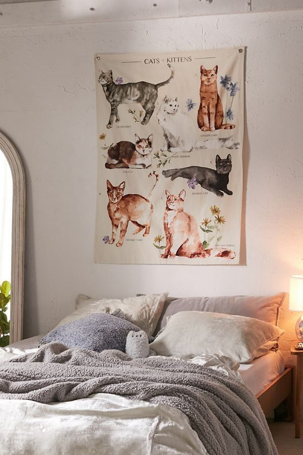 Cats Kittens Reference Chart Tapestry Cat Themed Bedroom Tapestry Urban Outfitters Home