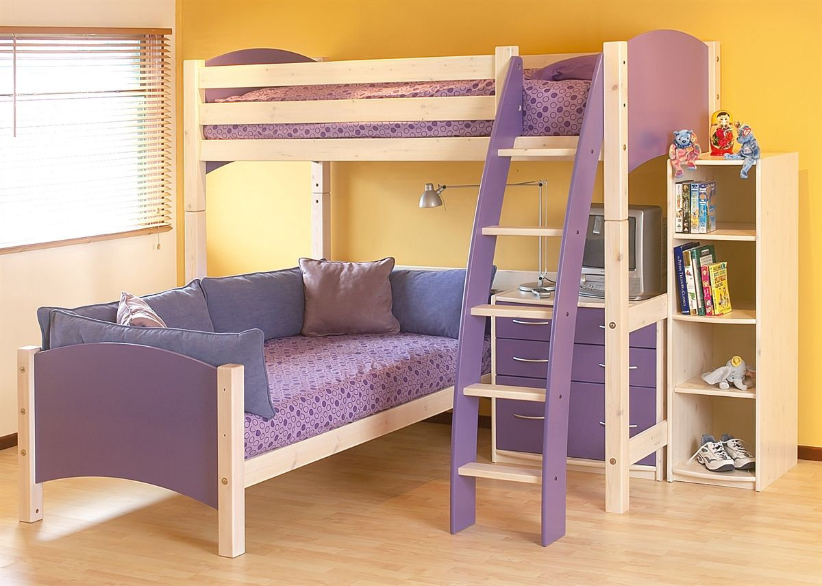 Cresta scallywag l shaped bunk bed show in lilac and white for Futon kids room
