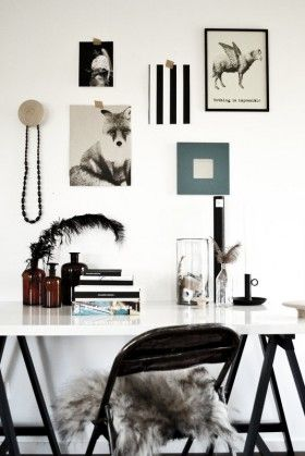Styling by Johanna Pilfalk. Desk with ODDVALD trestle, black, LINNMON table top and IKEA PS 2011 black candlestick.
