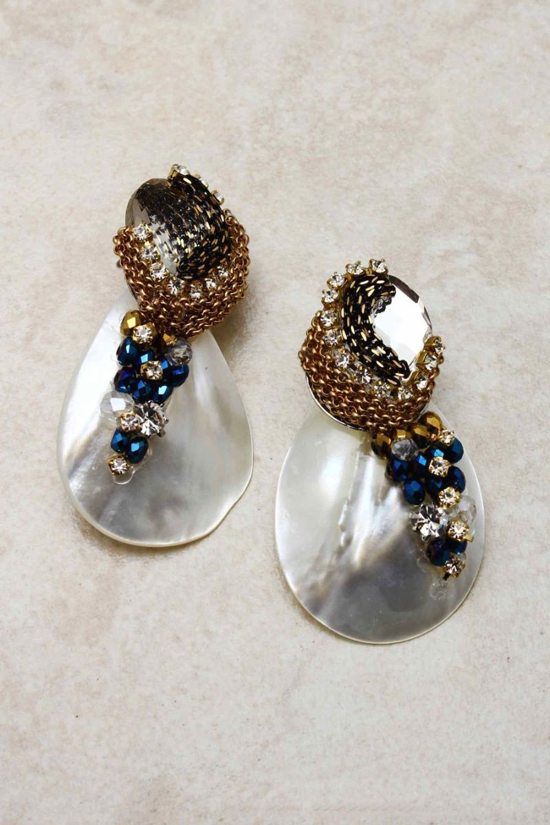 5a68e3b34a08 White Shell Champagne Teardrop Earrings on Emma Stine Limited Joyas