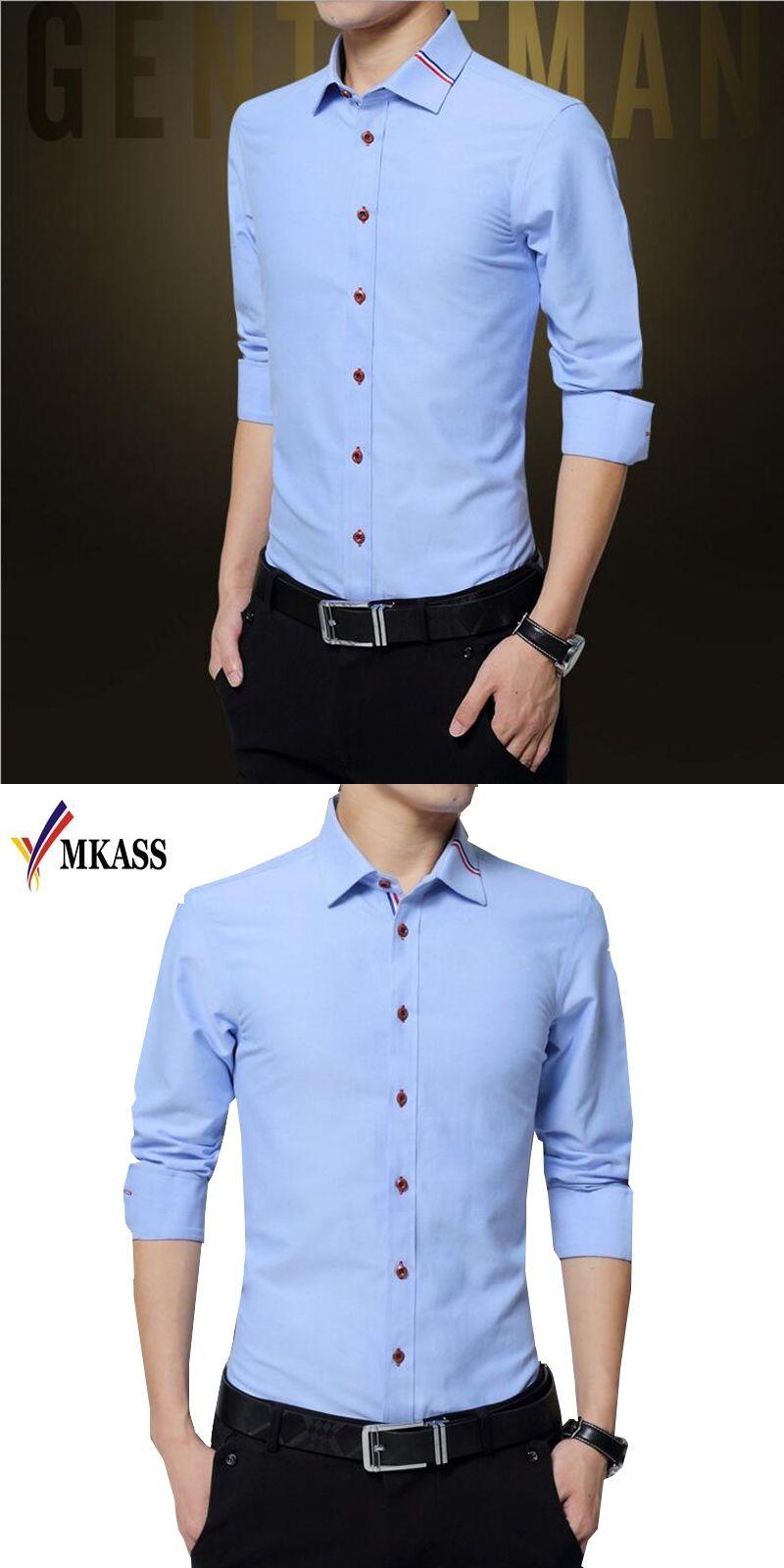 Long Sleeve Slim Men Dress Shirt 2017 Brand New Fashion Designer
