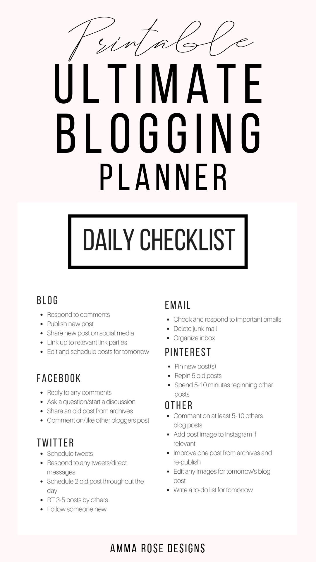 Printable Blog Workbook, Blog Planner, Blog Post P