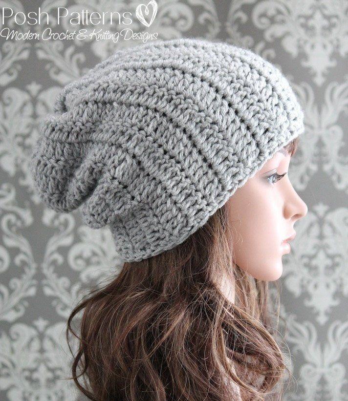 Crochet PATTERN - Beginner Crochet Slouchy Hat Pattern | Turbantes ...