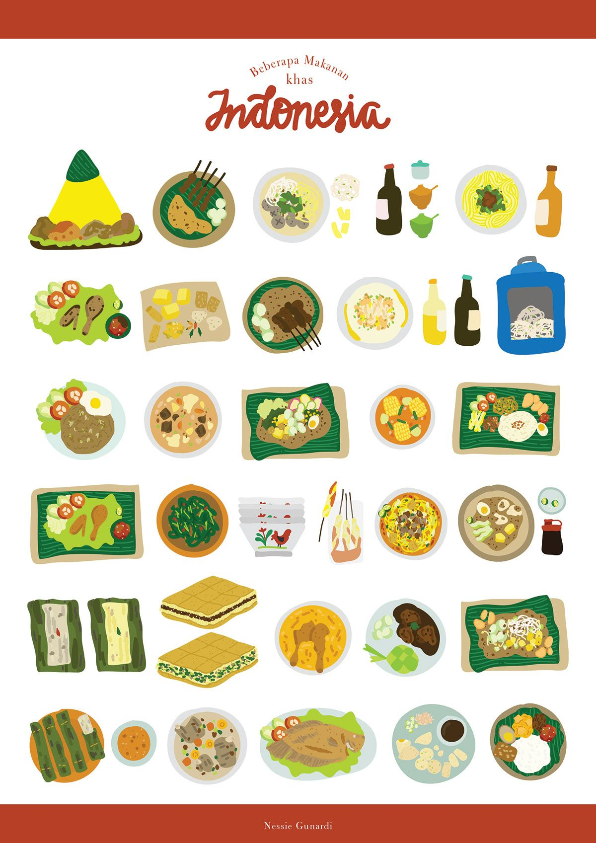 Indonesian Foods And Snack Cartoon Color Illustration Vozeli Com