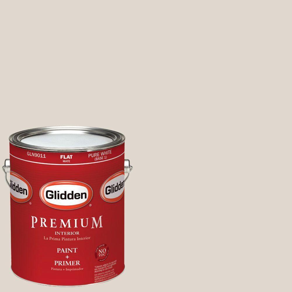 Glidden Premium 1-gal. #HDGWN35 Whitecliff Beige Flat Latex Interior Paint with Primer