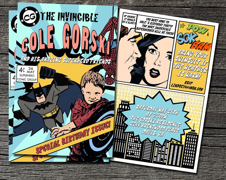 Listing for Brenda-Comic Book Invitation set of 13 | Superhero party ...