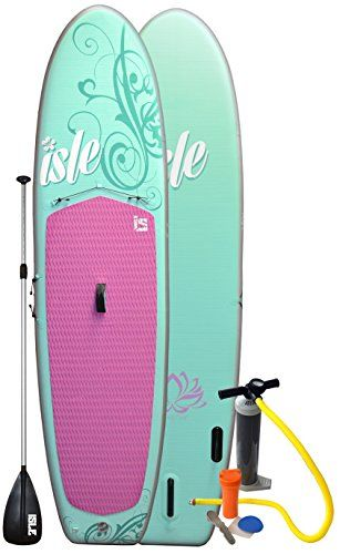Isle 10 ft 4 inch Womens Inflatable Stand Up Paddle Board with Pump and 3  Piece 474e71b0f2