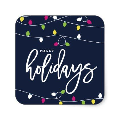 Bright and Colorful Christmas Lights Holiday Square Sticker