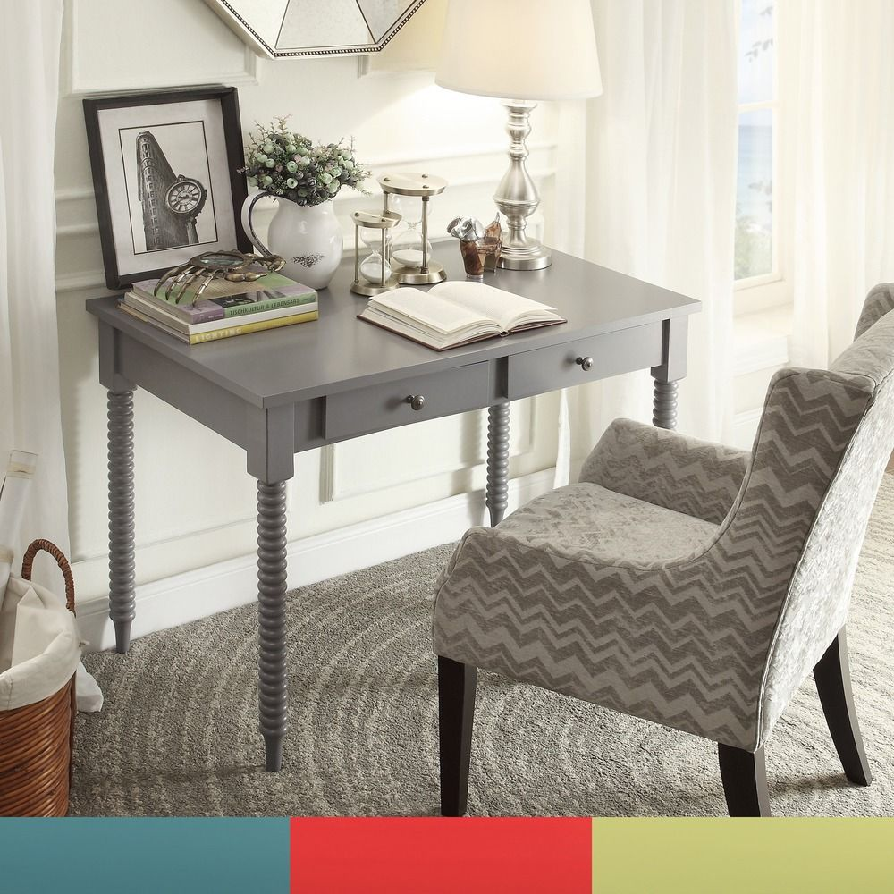 Add a bright pop of color to your office space with this elegant helix-leg  desk. Featuring two drawers for storing small office items such as pens or  paper, ...