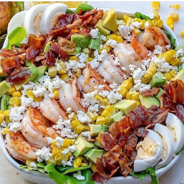 ULTIMATE Shrimp Cobb salad  Fresh Lemon-Chive Salad Dressing weight loss recipes women