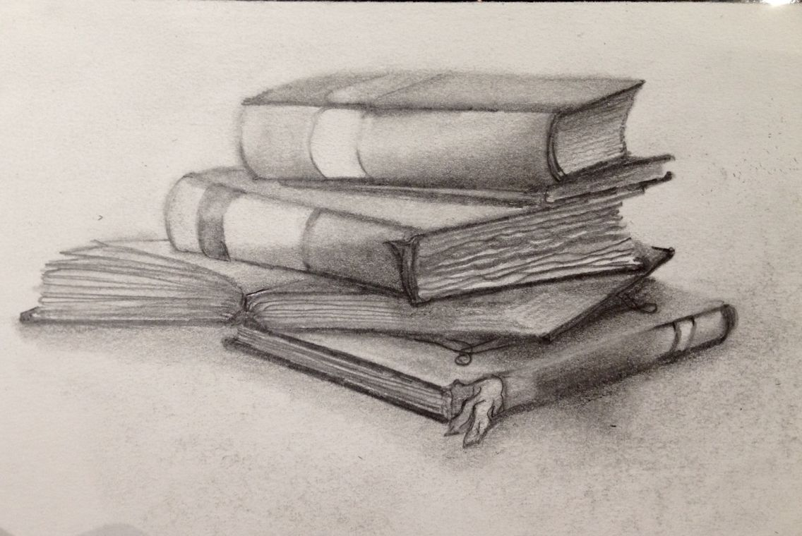 Graphite drawing of stacked books fun to draw