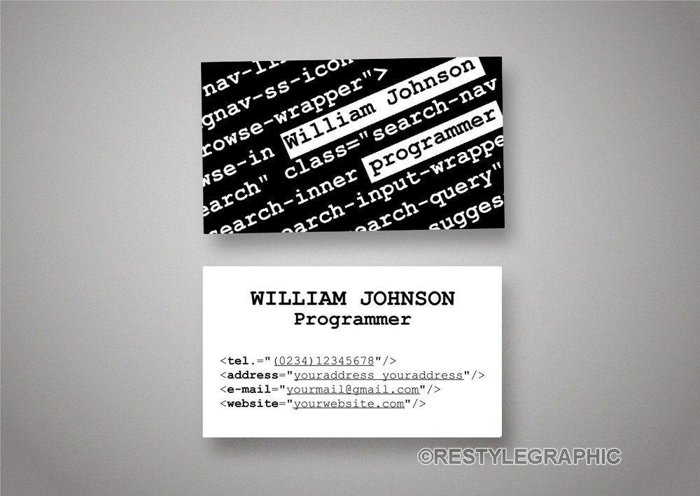 Programmer Business Card Design Software Developer Card Double Sided Business Business Card Design Software Business Card Design Double Sided Business Cards