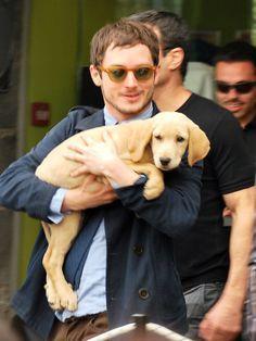 Elijah Wood and Labrador puppy