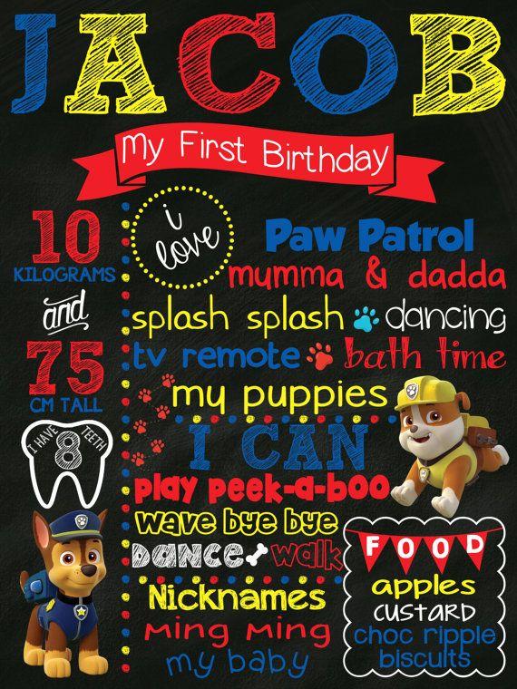 First Any Year Birthday Chalkboard Poster Paw Patrol Boy Or Girl