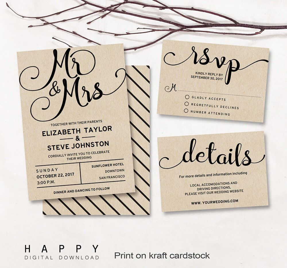 Printable Wedding Invitation Set Editable Modern Wedding Invitation - Modern wedding invitation template