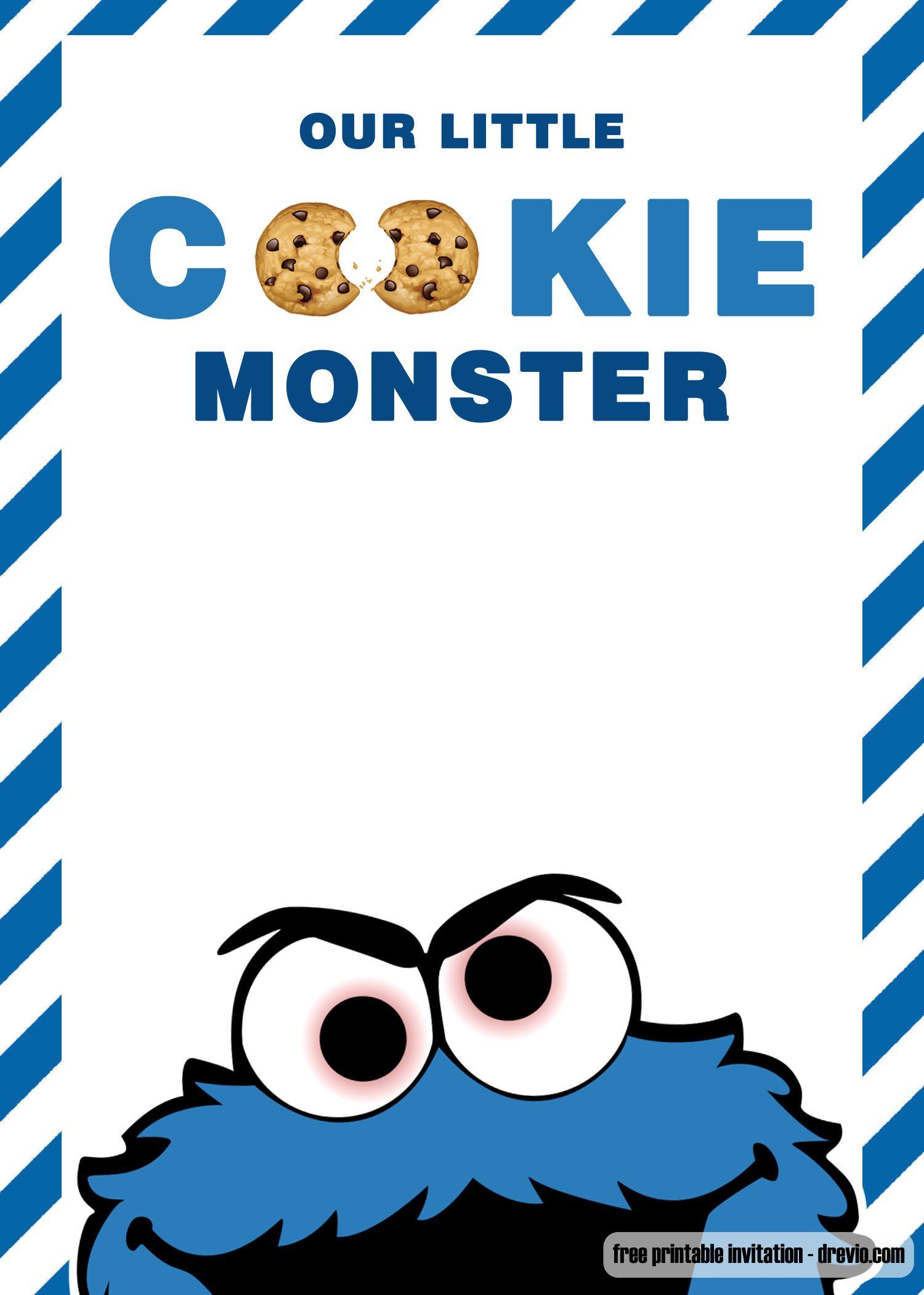Free Cookie Monster Birthday Invitation Templates Monster