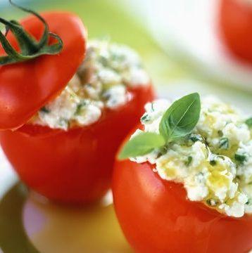 Tomates Recheados com atum e cottage
