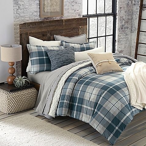 Bed Bath And Beyond Flannel Sheets Entrancing Ugg® Monterey Plaid Chambray Reversible Comforter Set  Bed Bath Review