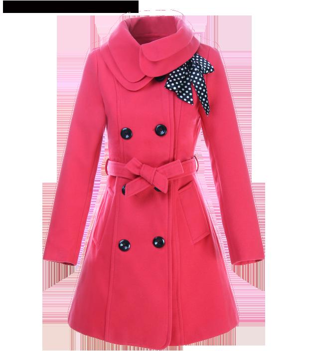 Women's Winter Belted Woolen Coat With Pockets