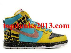 Promoting High Top Eccentric Letters Yellow Cyan Balck Custom Nike Dunk a12b670e1
